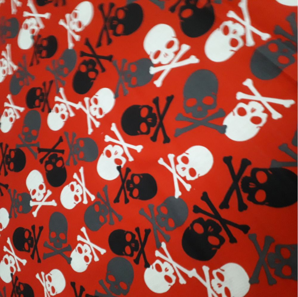 black fabric with white skull & crossbones fabric 45""