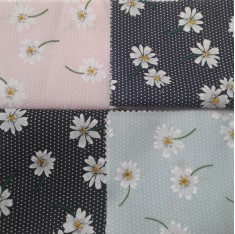 White Daisy Flower Design Fabric 45